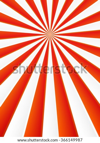 Red and white rays vector abstract circus poster background - stock vector