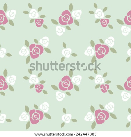 Red and white roses floral vector seamless pattern. - stock vector