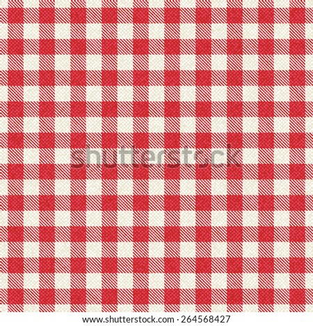 Red and white textured plaid gingham tablecloth - stock vector