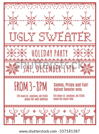 Red and White Ugly Holiday Sweater Party invitation template - stock vector