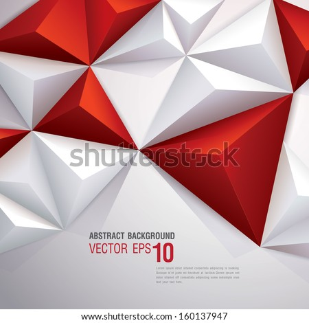 Red and white vector geometric background. Can be used in cover design, book design, website background, CD cover, advertising. - stock vector