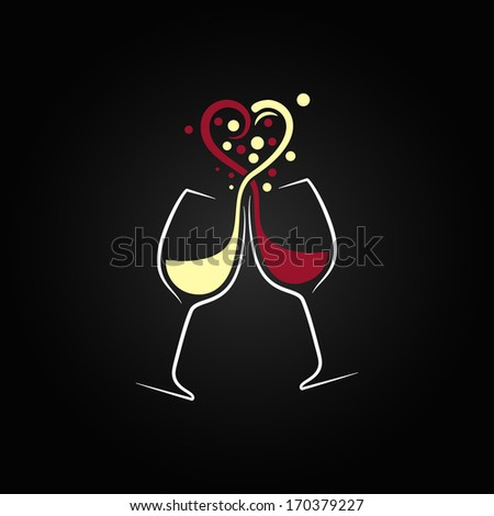 red and white wine love concept valentines day design background - stock vector