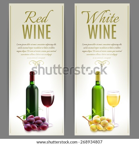 Red and white wine paper banner vertical set with glass bottles and grapes isolated vector illustration - stock vector