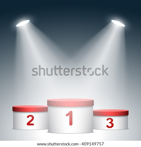 Red and white winners podium. Pedestal. Cylinder. Spotlight. 3D. Vector illustration. - stock vector