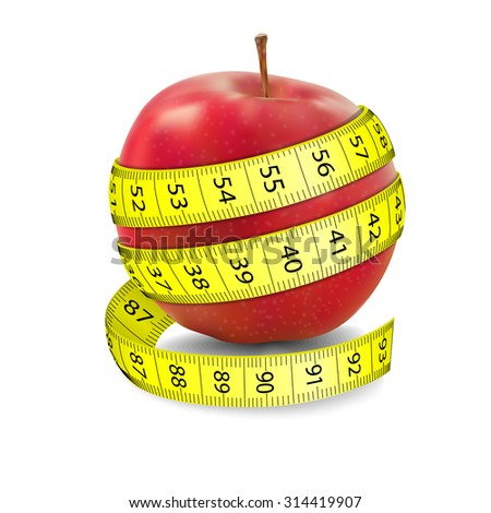 Red apple and tape measure. Illustration on white background - stock vector