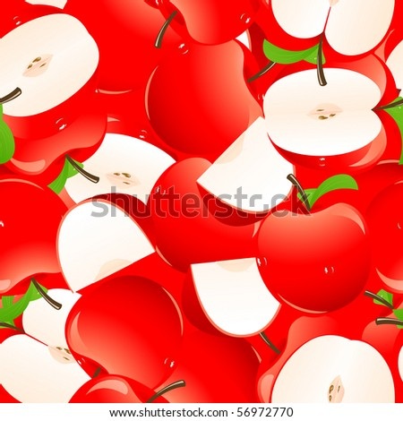 Red apple background, vector illustration - stock vector