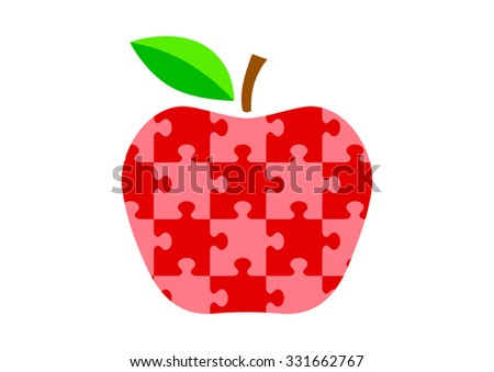 Red apple icon on white background - stock vector