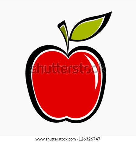 Red apple icon. Vector illustration - stock vector