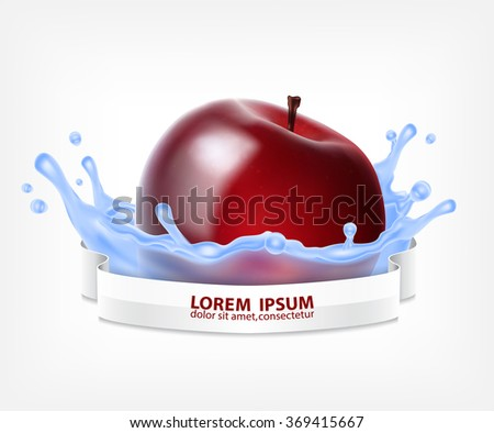 Red apple in water splash with ribbon for design. Vector icon. EPS10 vector - stock vector