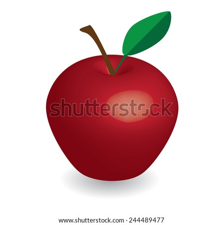 red apple in white background, red apple vector, apple vector - stock vector