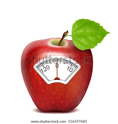 red apple isolated scale with clock - stock vector