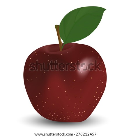 Red apple on white. EPS 10 vector illustration with mesh and transparency. - stock vector