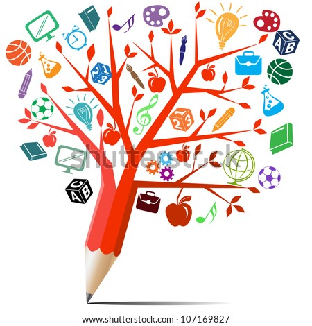 Red apple tree pencil with back to school concept. - stock vector