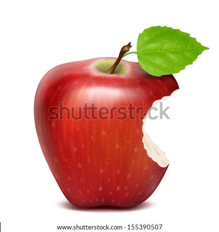 Red apple with green leaf and bite, isolated - stock vector