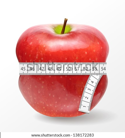 Red apple with measurement isolated on white. Vector illustration. - stock vector