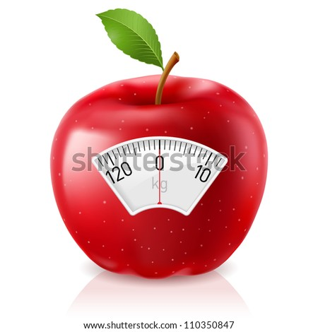 Red Apple With Scale for a Weighing Machine - stock vector