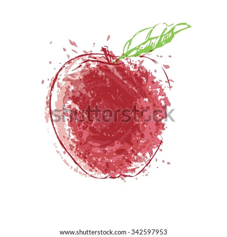 red apple with splashes vector - stock vector