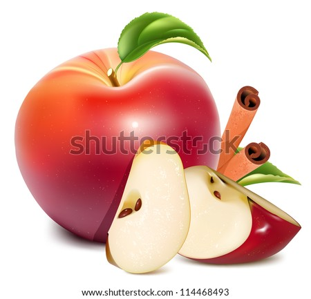 Red apples and apples slices with green leaves and cinnamon. vector illustration - stock vector