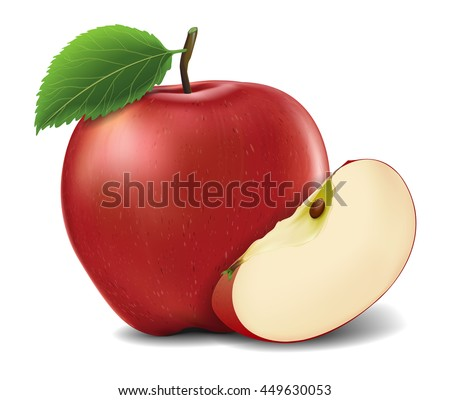 Red Apples with Green Leaves and Apple Slice - Vector Illustration. Realistic vector - stock vector