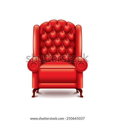 Red armchair isolated on white photo-realistic vector illustration - stock vector