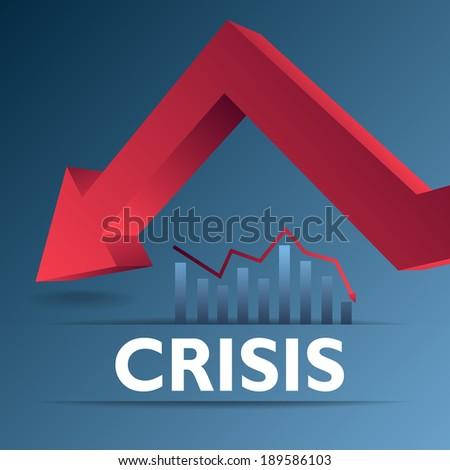 Red arrow collapse as concept - stock vector