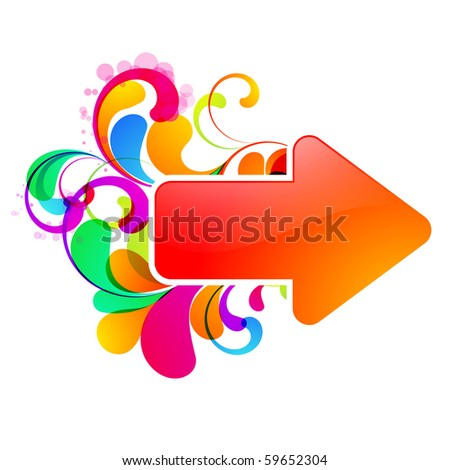 Red arrow decorated with colorful graphic. - stock vector