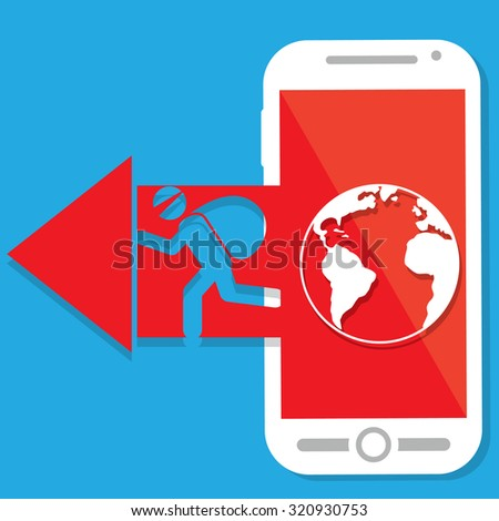 Red arrow Hacker point out of smartphone screen in vector style. - stock vector