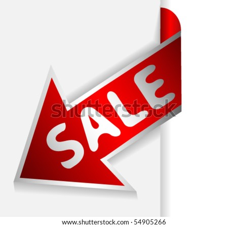 Red arrow or ribbon with text sale - stock vector