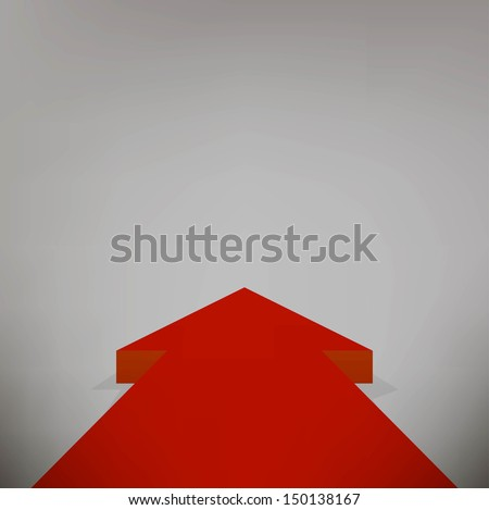 Red arrow pointing towards - stock vector