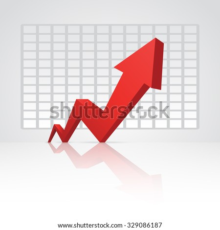 Red arrow pointing up with graph in the background. - stock vector