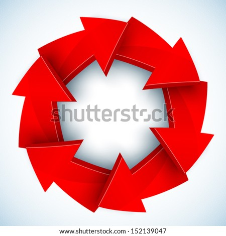 Red arrows closed vector circle - stock vector