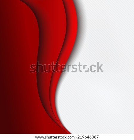 Red background curve line on white space shadow overlap and dimension modern texture pattern for text and message website design - stock vector