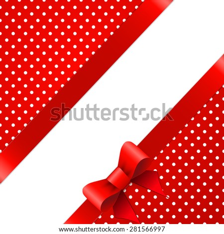 Red background with bow - stock vector