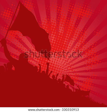 red background with demonstrators - stock vector