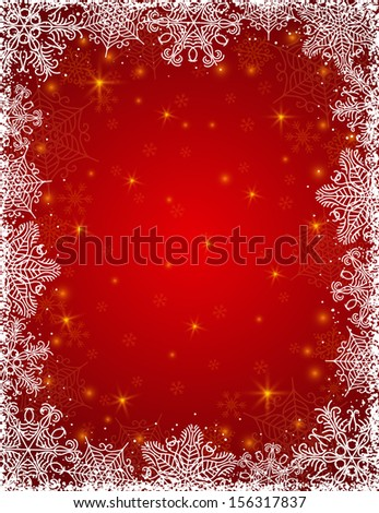 red background with  frame of snowflakes, vector illustration - stock vector