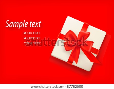 Red background with gift box and red bow. Vector illustration - stock vector