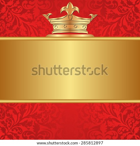 red background with golden frame and crown - stock vector