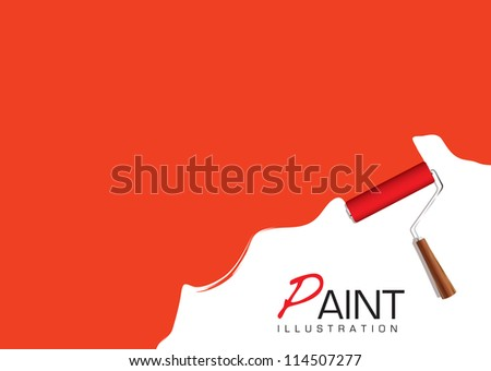 Red background with paint roller element and copy space - stock vector