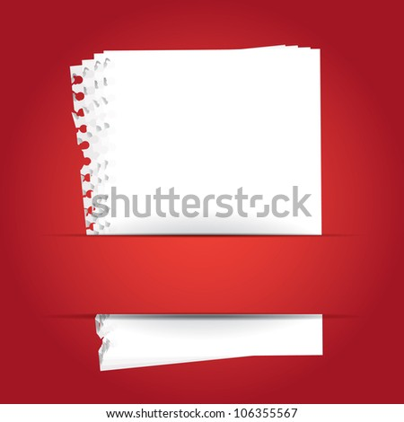 red background with papers and place for your text - stock vector