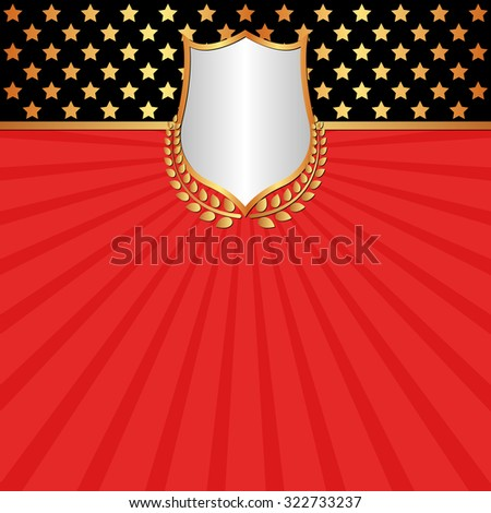red background with shield and laurel wreath - stock vector