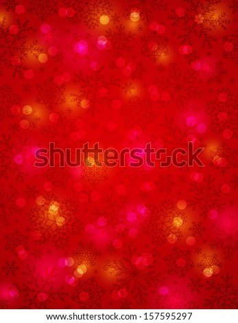 red background with snowflakes, vector illustration - stock vector
