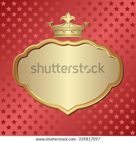 red background with stars and golden frame - stock vector