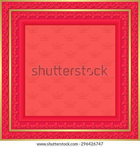 red background with vintage frame and crowns pattern - stock vector