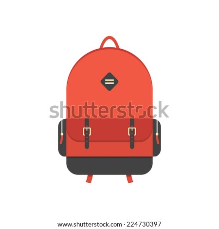 red backpack isolated on white background. flat style trendy modern vector illustration - stock vector