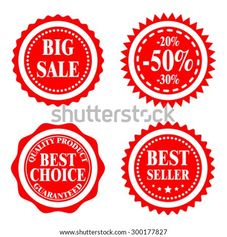 Red badges, stickers, logo, stamp. Big sale, discount, best choice, best seller. Modern flat design, clear and bright. - stock vector