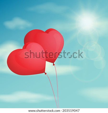 Red balloon, heart on the background sky. Vector vintage filter - stock vector