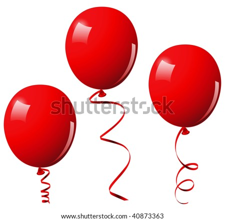Red balloons. This image is a vector illustration and can be scaled to any size without loss of resolution - stock vector