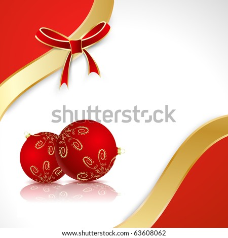 Red balls with a gold bow on the red and white background - stock vector