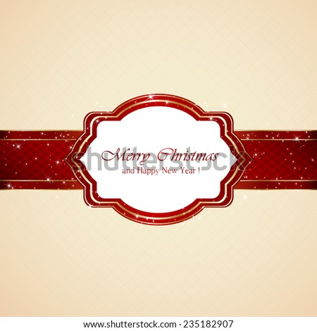 Red banner with Christmas card on beige background, illustration. - stock vector