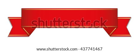 red banner with shadow - stock vector